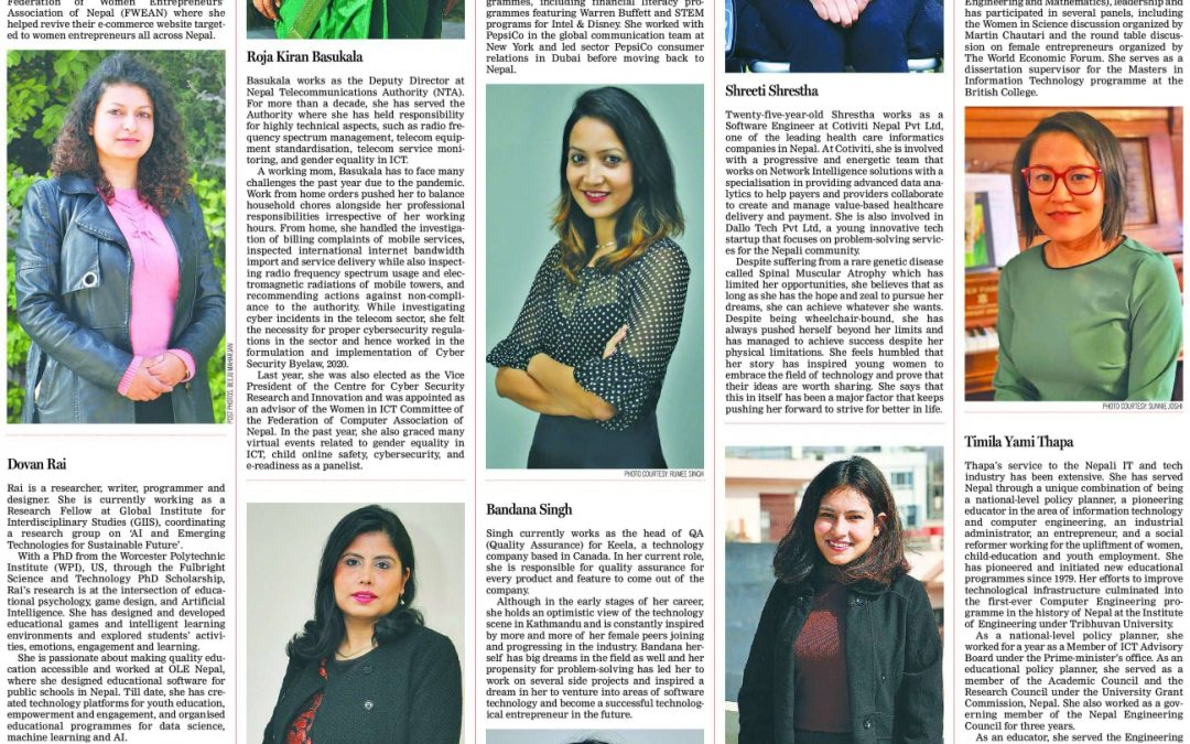 Our Team Member Featured as '10 women who are changing the face of the tech in Nepal'